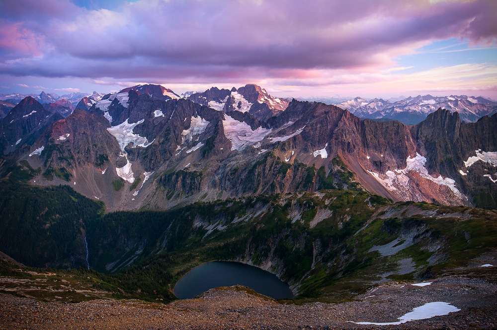 Epic views from the foot of Sahale Glacier overlooking Doubtful Lake and the jagged peaks of the North Cascades. We camped here at 7,500 feet. It was a chilly night but the view was worth it.