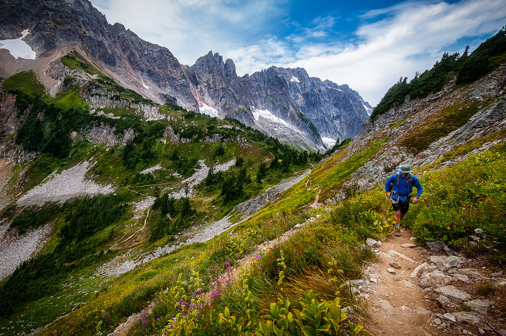 Blazing the trail from Cascade Pass up to Sahale Glacier in North Cascades.