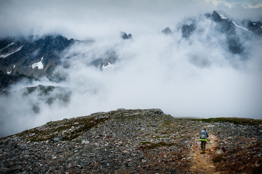 Descending Sahale Arm into a cool morning fog.