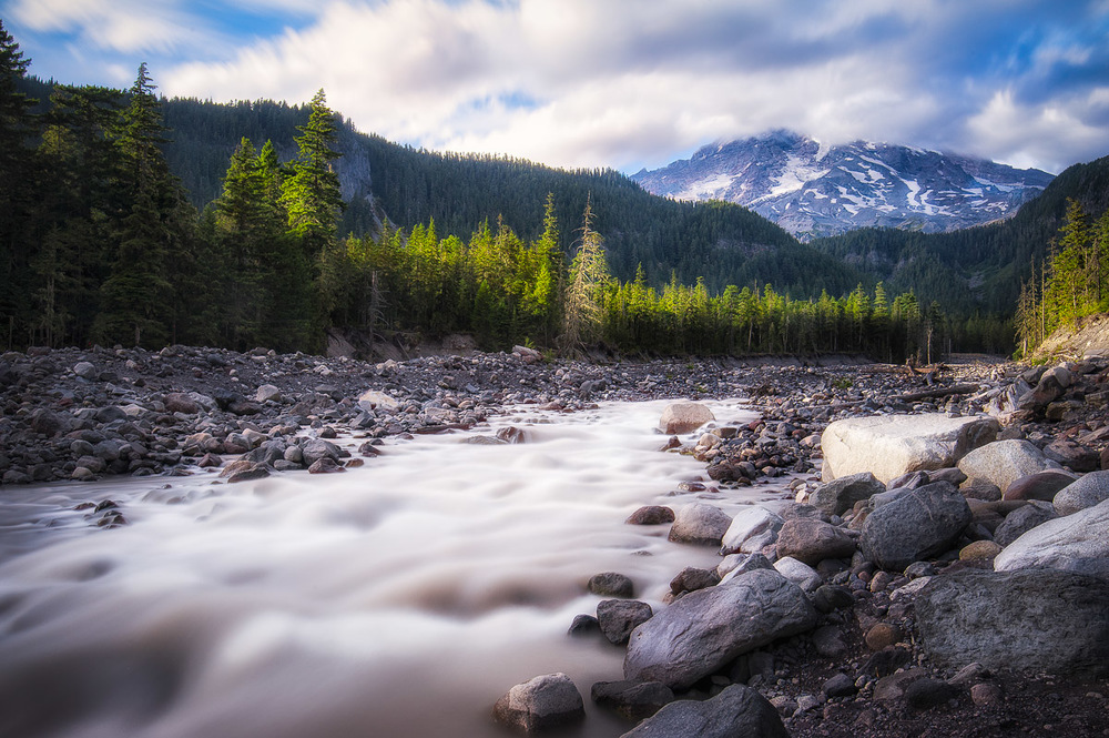The fast-flowing glacial water of the Nisqually River on Mt. Rainier.