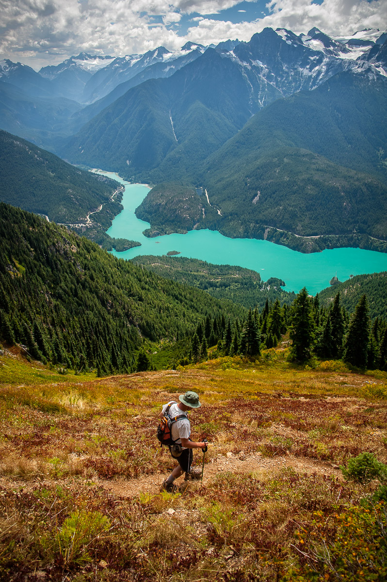The steep switchbacking descent from Sourdough Mountain high above the turquoise waters of Diablo Lake and beyond.