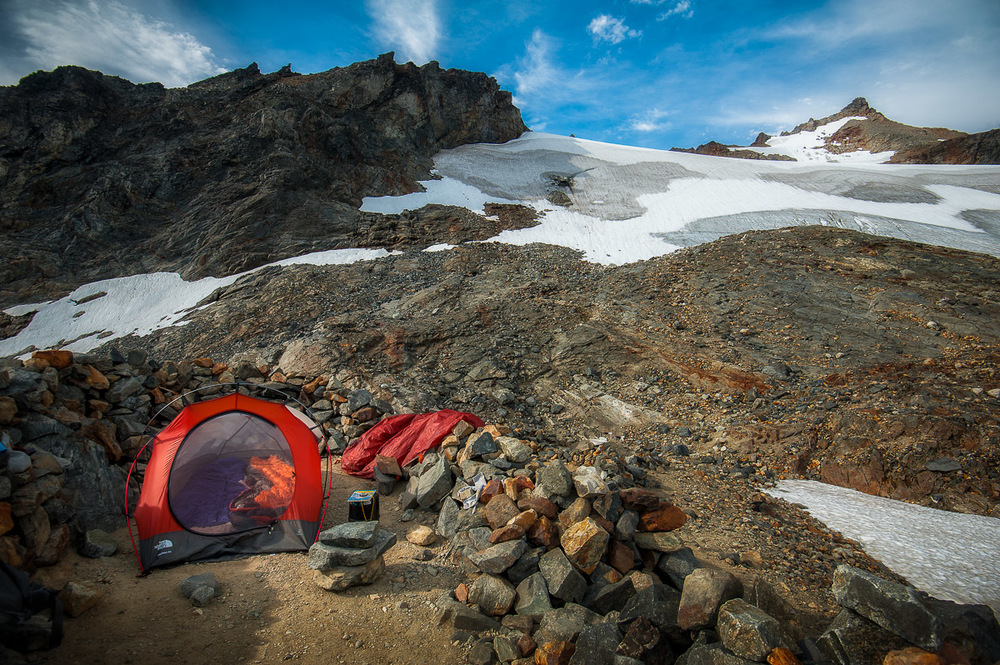 High camp on Sahale Glacier.