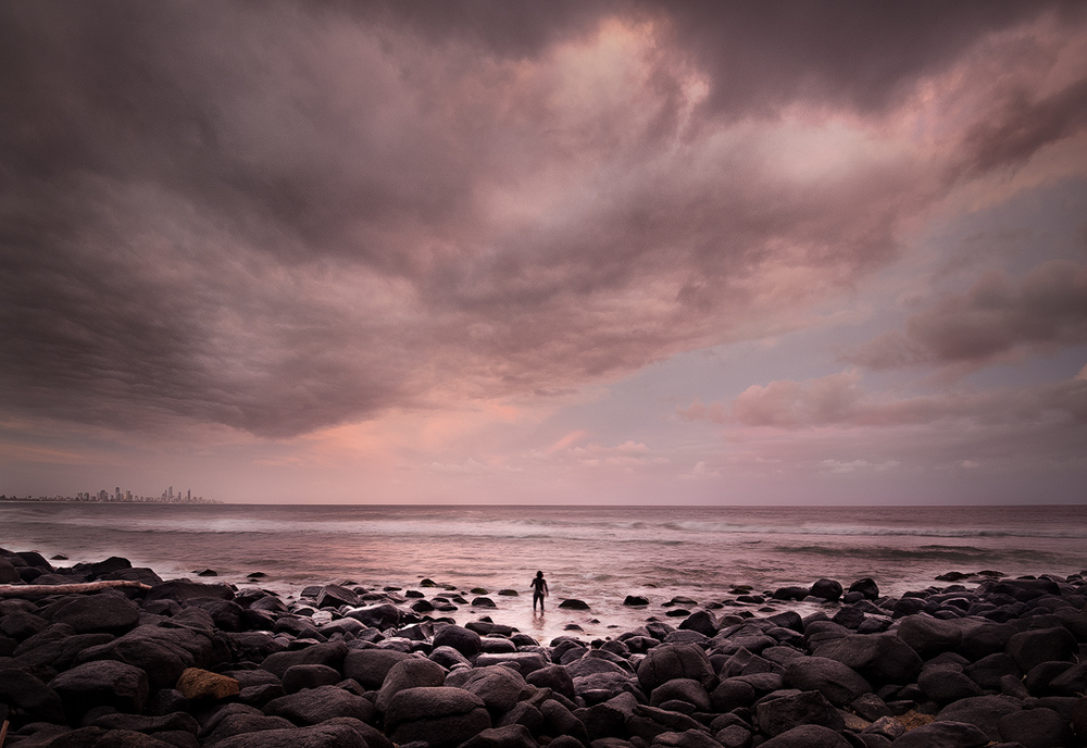 Last wave of the day during a stormy late afternoon at Burleigh