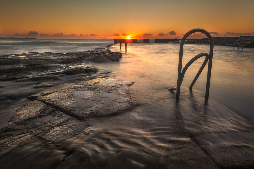 Sunrise over Ocean Pool, Yamba, NSW