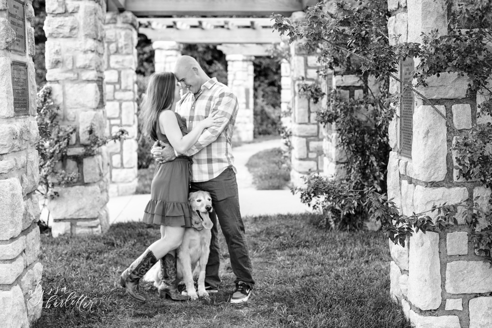 engagement photography kansas city loose park dog rose garden