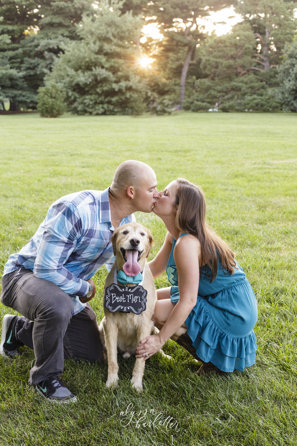 engagement photography kansas city loose park dog trees