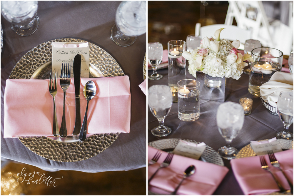 kansas city wedding photography centerpiece table reception pink grey deleon