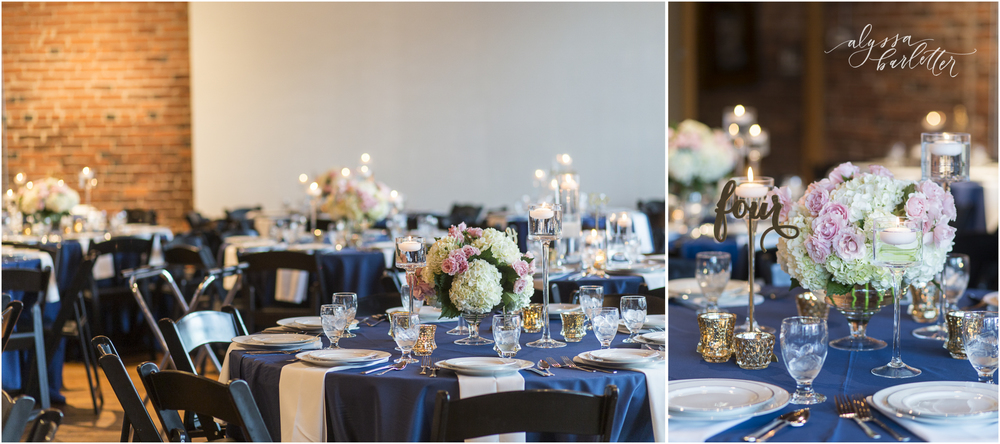 kansas city wedding photography centerpiece table reception navy the berg downtown