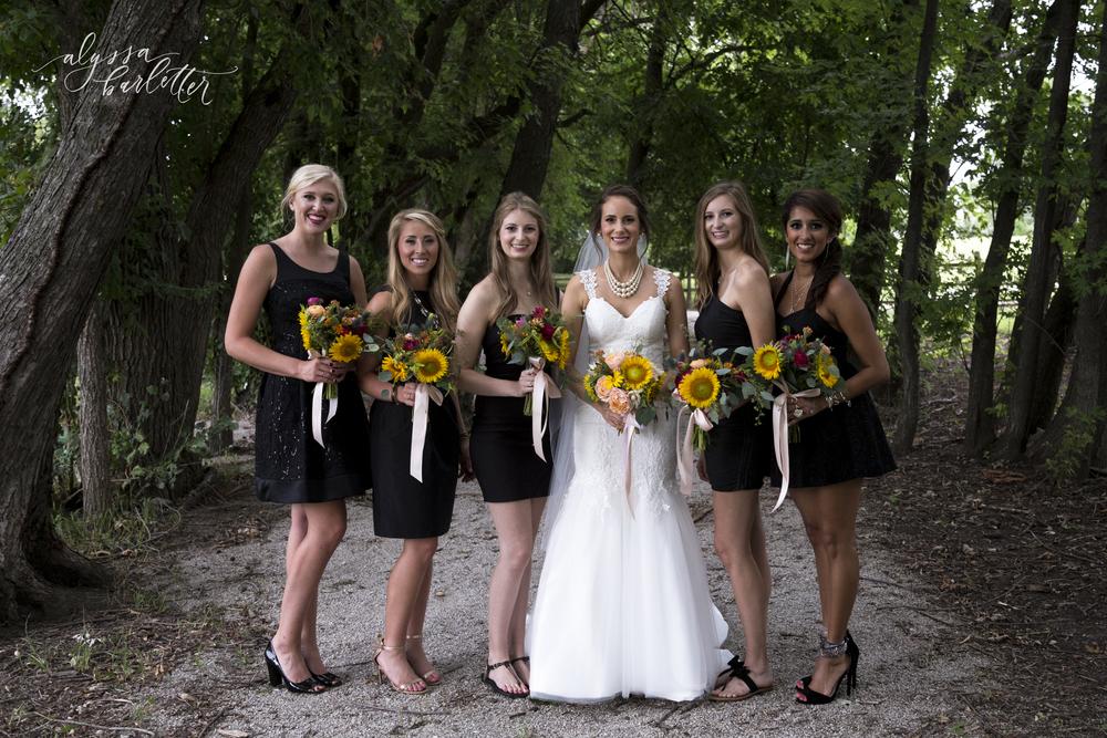 kansas city wedding budget mahaffie bride bridesmaids black dress sunflower