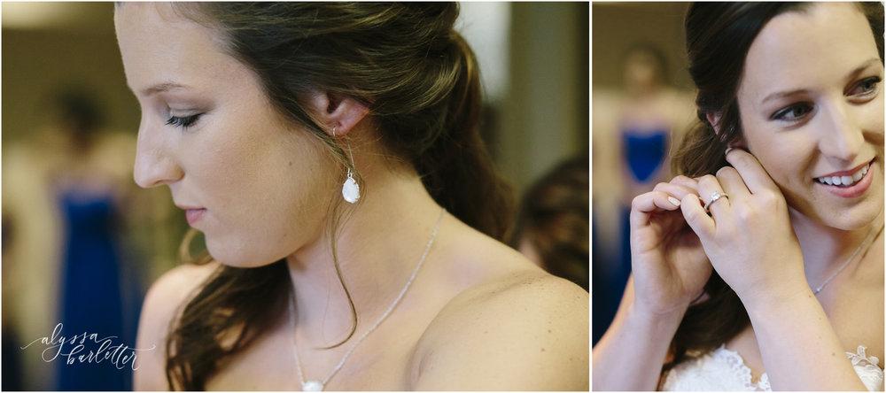 kansas city wedding photography catholic church visitation bride getting ready earrings