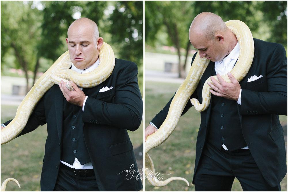 kansas city wedding photography loose park groom portrait snake