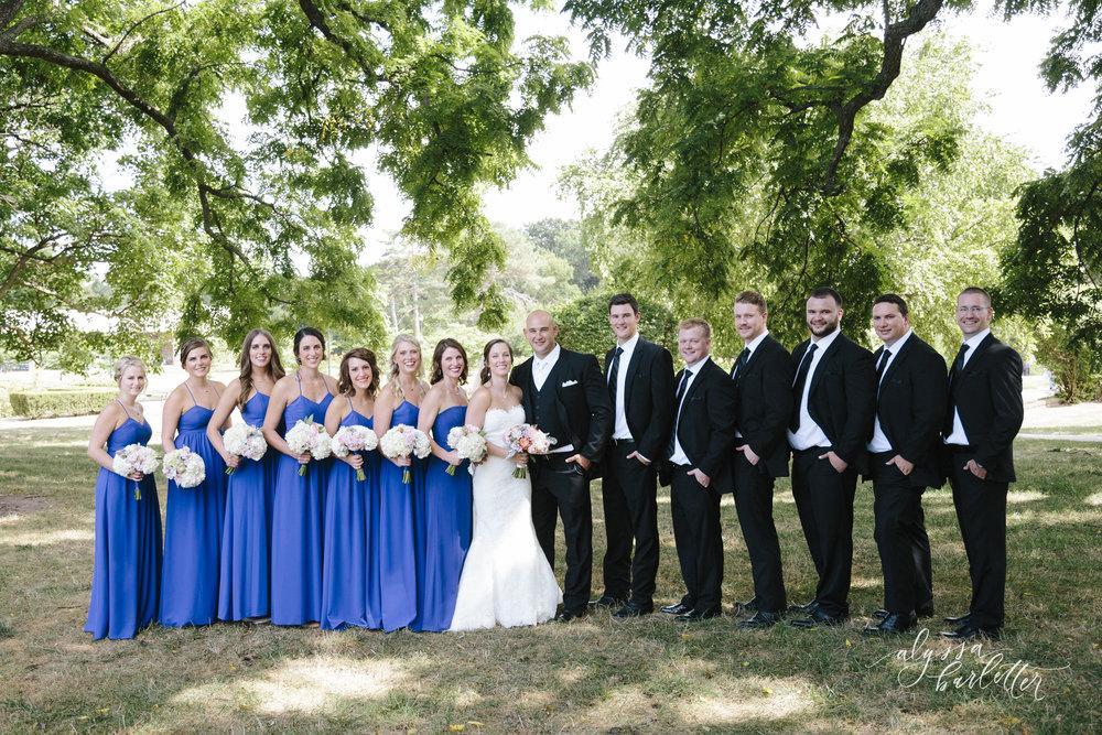 kansas city wedding photography loose park bridal party bridesmaids groomsmen bride groom