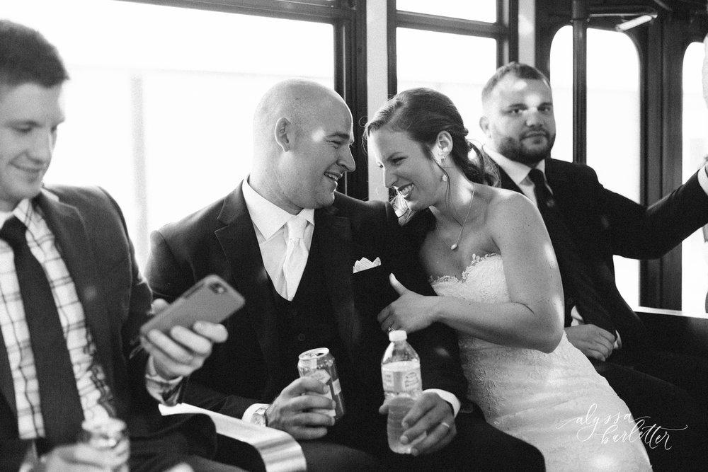 kansas city wedding photography bride groom party bus