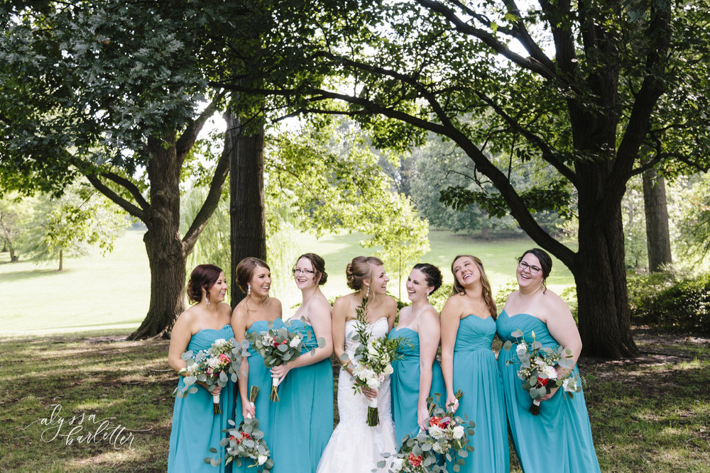 kansas city wedding photographer loose park bride bridesmaids teal dress