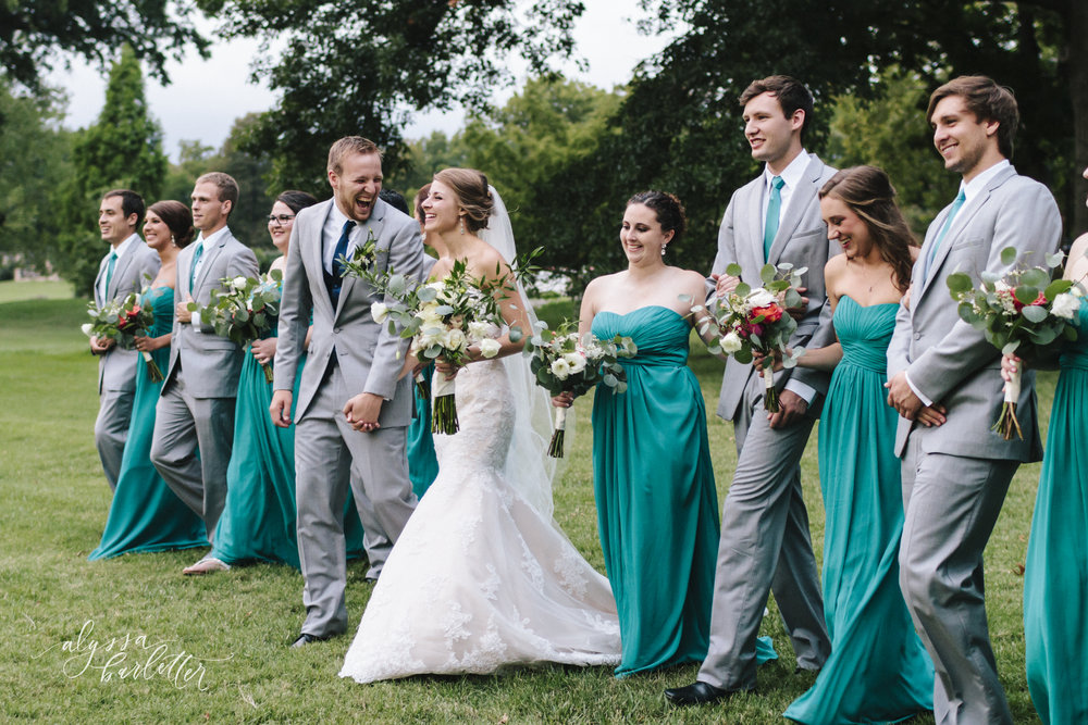 kansas city wedding photographer loose park bride groom bridesmaids groomsmen bridal party portraits