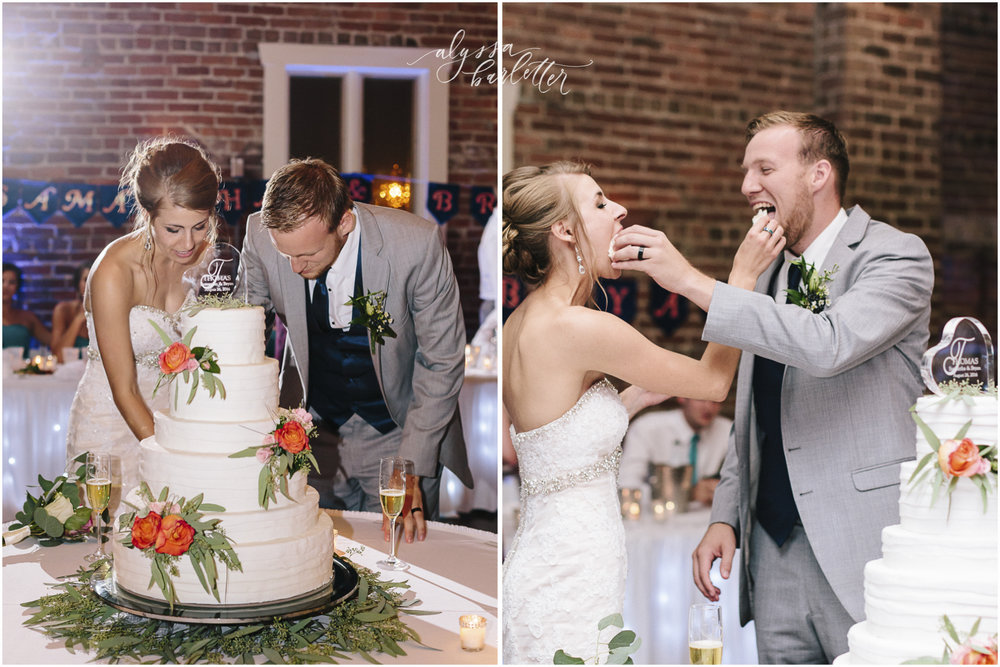 kansas city wedding photographer westport californos reception bride groom cake