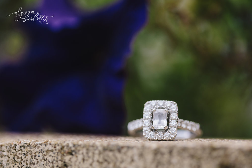 kansas city wedding photographer lees summit unity village engagement ring emerald cut halo