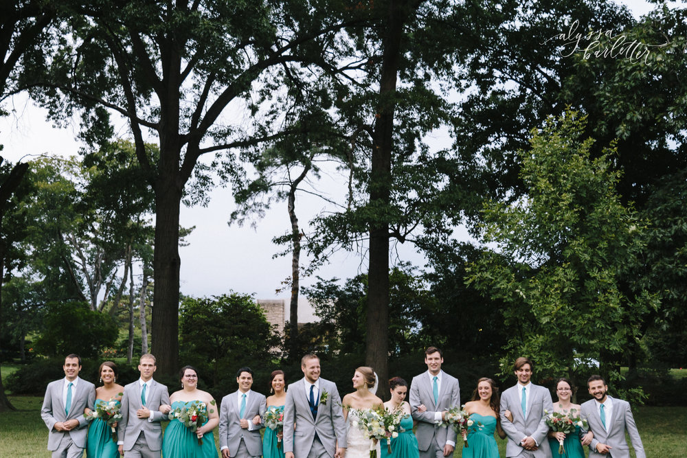 kansas city missouri wedding photographer bridal party loose park bride groom