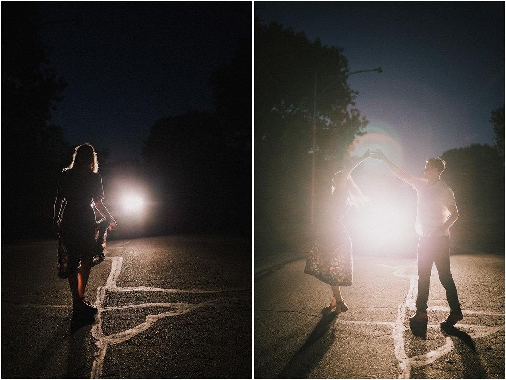 alyssa barletter photography artsy engagement photos headlight car nighttime fun-2.jpg