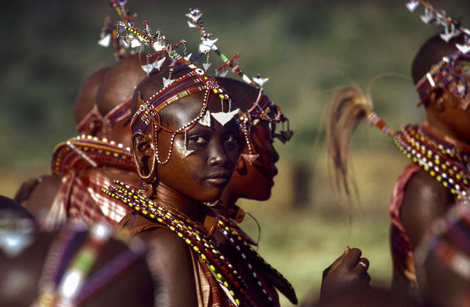 Maasai girls attend thee-unotoceremony.