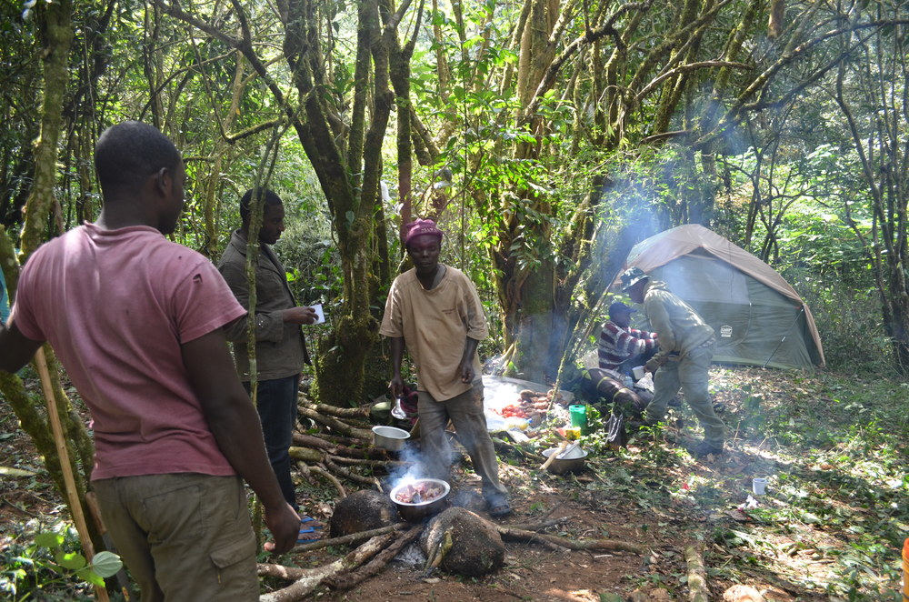 After finishing sampling for the day, the team heads back to camp to rest, cook some delicious food ( ugali  and greens), and drink chai before turning in early for the night.  Field work with wildlife involves early mornings and long days, but beautiful scenery.