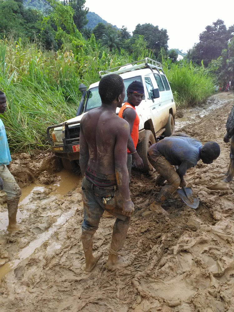 Mudding! Wet season sampling in the mountains builds muscle...
