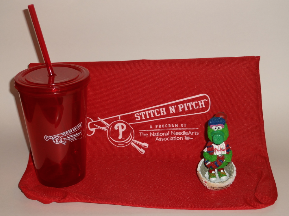The 2014 Phillies Stitch N' Pitch Night gift included a bobblehead, tumbler, and tote bag - ©PhilliesSGA