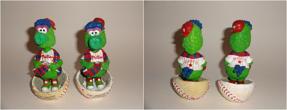 Phillie Phanatic Pitch N' Stitch Bobbleheads - 2010 on the right - 2014 on the left - ©PhilliesSGA