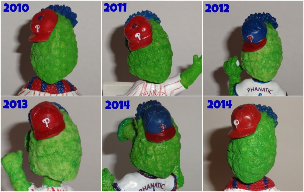 The many heads of the mini Phanatic Bobbles! - ©PhilliesSGA -2014