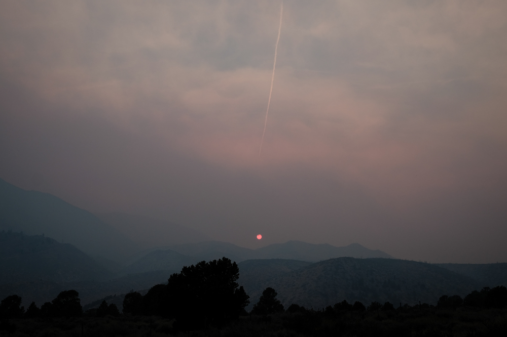 Sunset and wildfire smoke. California. August 2015.