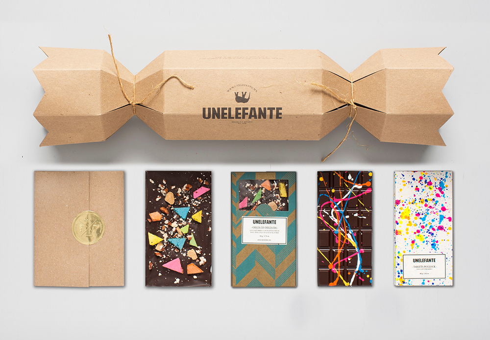 Decorative Mexican brand Unelefante's colorful Bark and Pollock collection of chocolate
