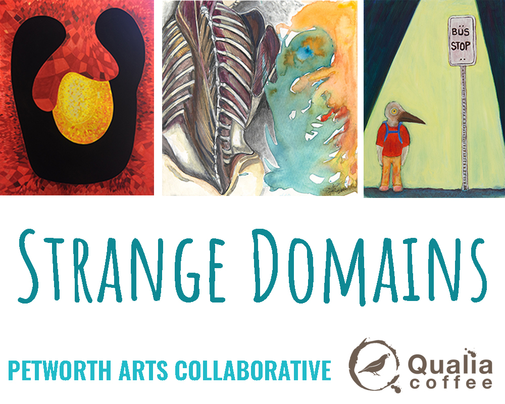 First up, as part of First Friday events in Petworth, join me and my fellow artists  Alexis Polen  and  Sarah Kahle  at Qualia Coffee    this Friday  for our group show:   Strange Domains .   Opening: Friday, July 6th, 5-7pm.    Due to limited hours on Friday, we will have an  artist reception  on  Saturday the 7th at 10AM .