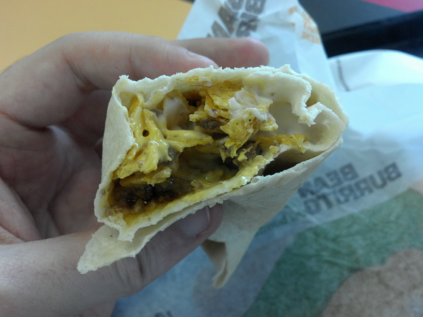 Nacho Chips, Nacho Cheese, Beef, Sour Cream, Flour Tortilla.