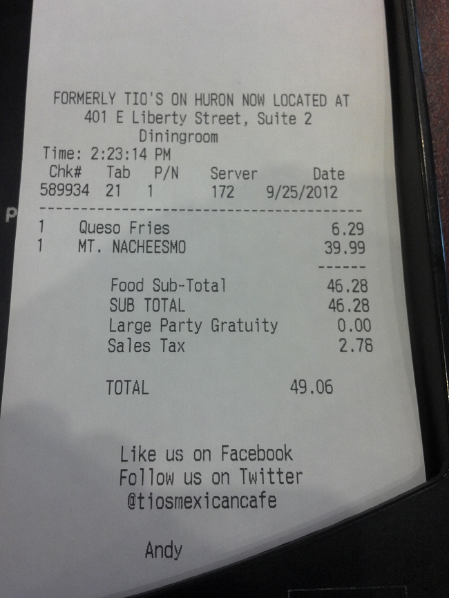 I'm more saddened that I had to pay the $40. Maybe I shouldn't have eaten those queso fries first.