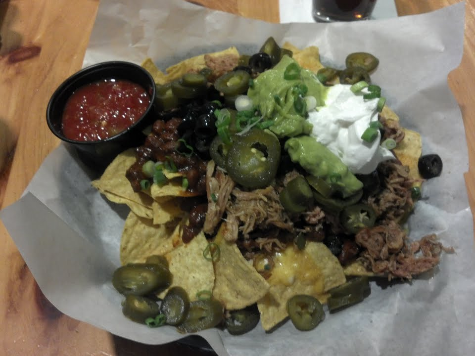 Pulled Pork, Chili, Cheese, Olives, Jalapenos, Green Onions, Sour Cream, Guacamole, Salsa.