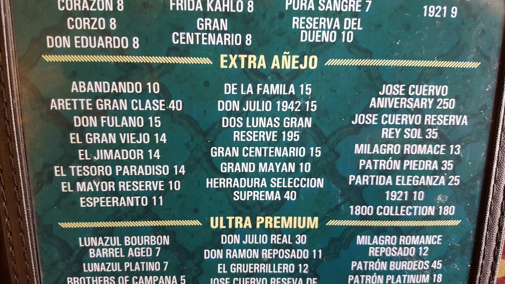 Feel free to try all the Extra Anejo selection if you have a spare $901.