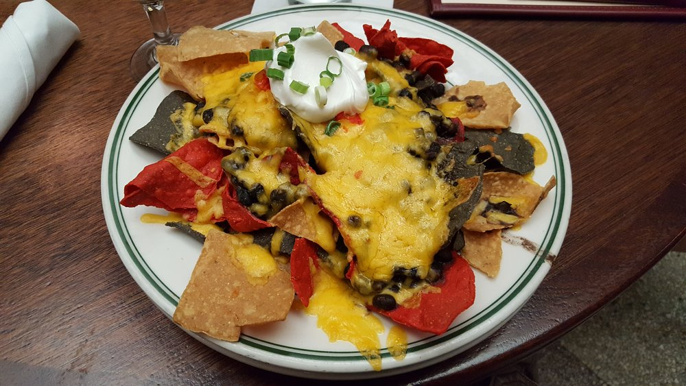 Chips, Cheese, Black Beans, Sour Cream, Scallions