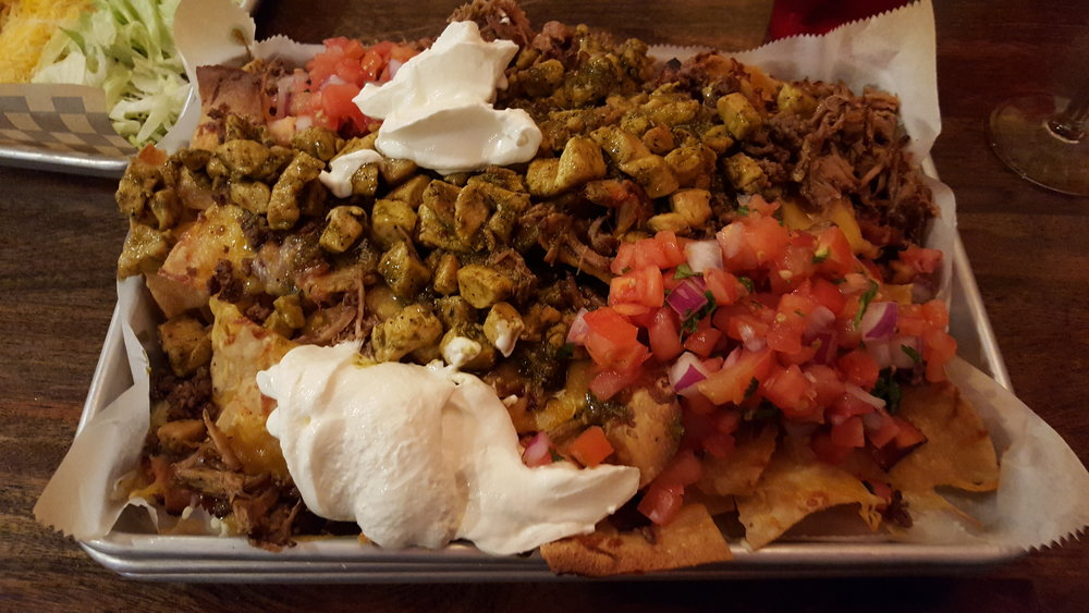 Beef, Chicken, Bacon, pork, cheese, sour cream, and pico de gallo