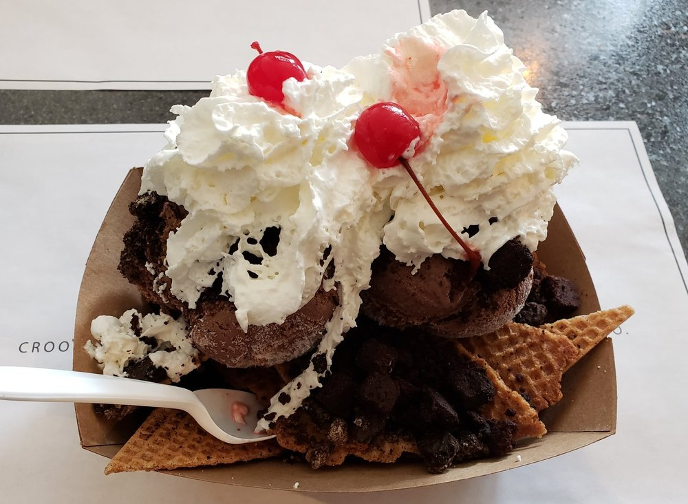 Waffle cone chips, Chocolate Lovers ice cream, brownie bits, crushed Oreo, whipped cream, maraschino cherry