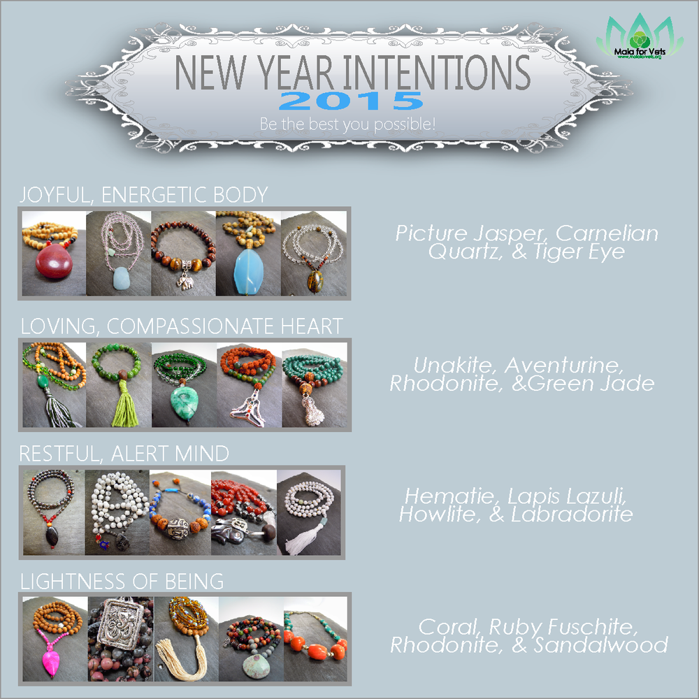 There are several Mala beads available to help support you with your new intentions!