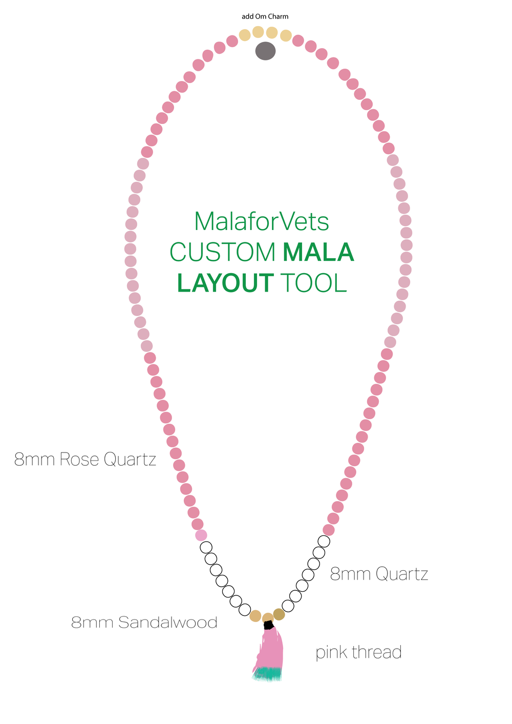 Any gemstone or bead listed in my Gemstone Meanings is available. I can make tassels, or use larger gemstones to finish off your mala bead. Download this image and customize it. Email me for more information: malaforvets@gmail.com