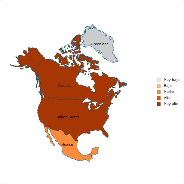 Norteamérica: Nivel de contrataciones por mérito en el servicio público.