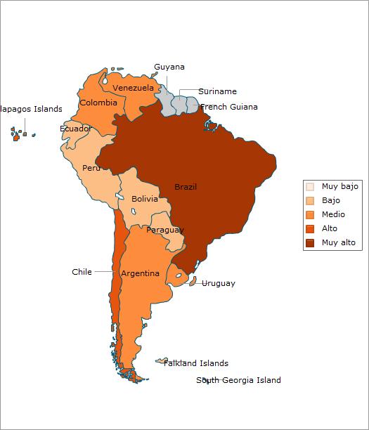 Sudamérica: Nivel de contrataciones por mérito en el servicio público.