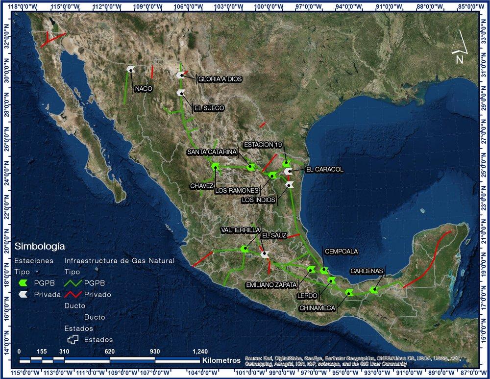 Infraestructura de transporte de gas natural en México. Fuente:  SENER, 2013.