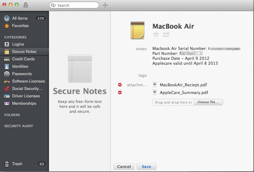 1Password stores my MacBook Air Serial Number and purchase information for fast access. Also I attached PDF's of the receipt of purchase and a screen capture of the AppleCare expiration website.