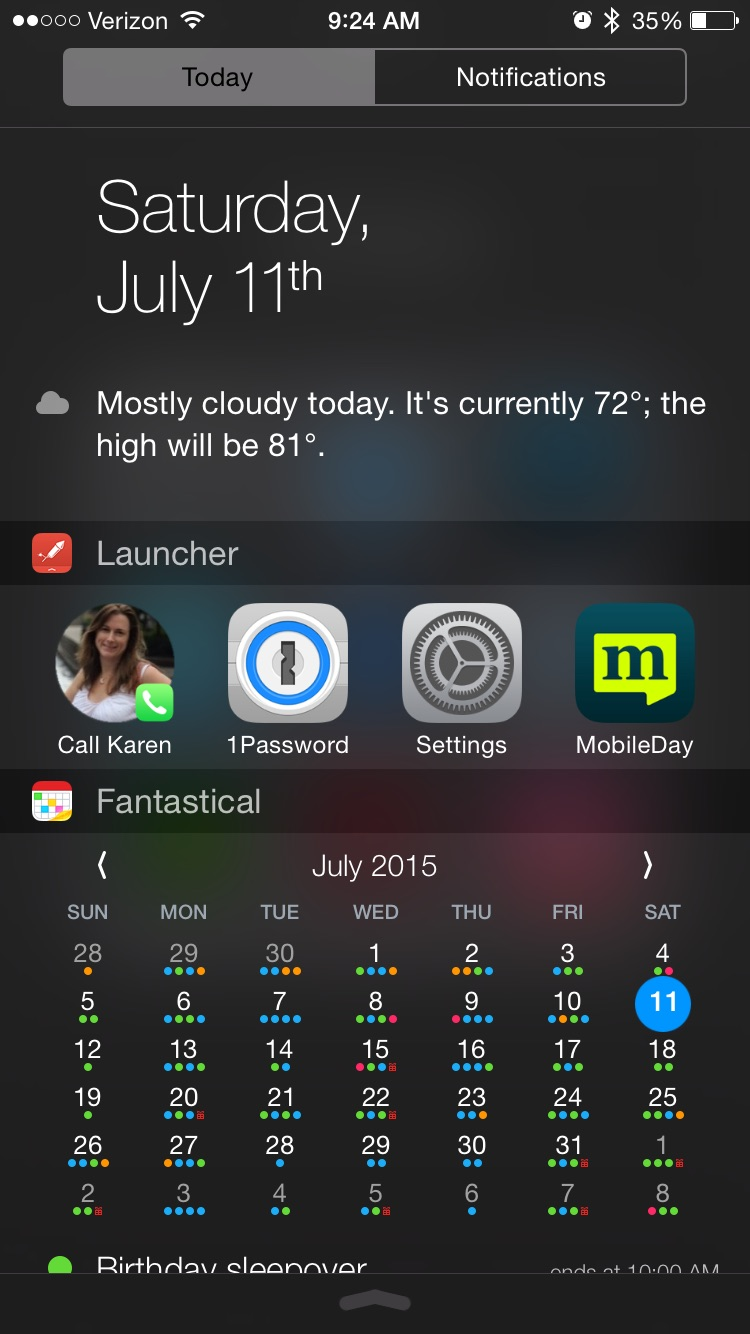 Launcher gives me the ability to add apps or workflows in a Notification Center.