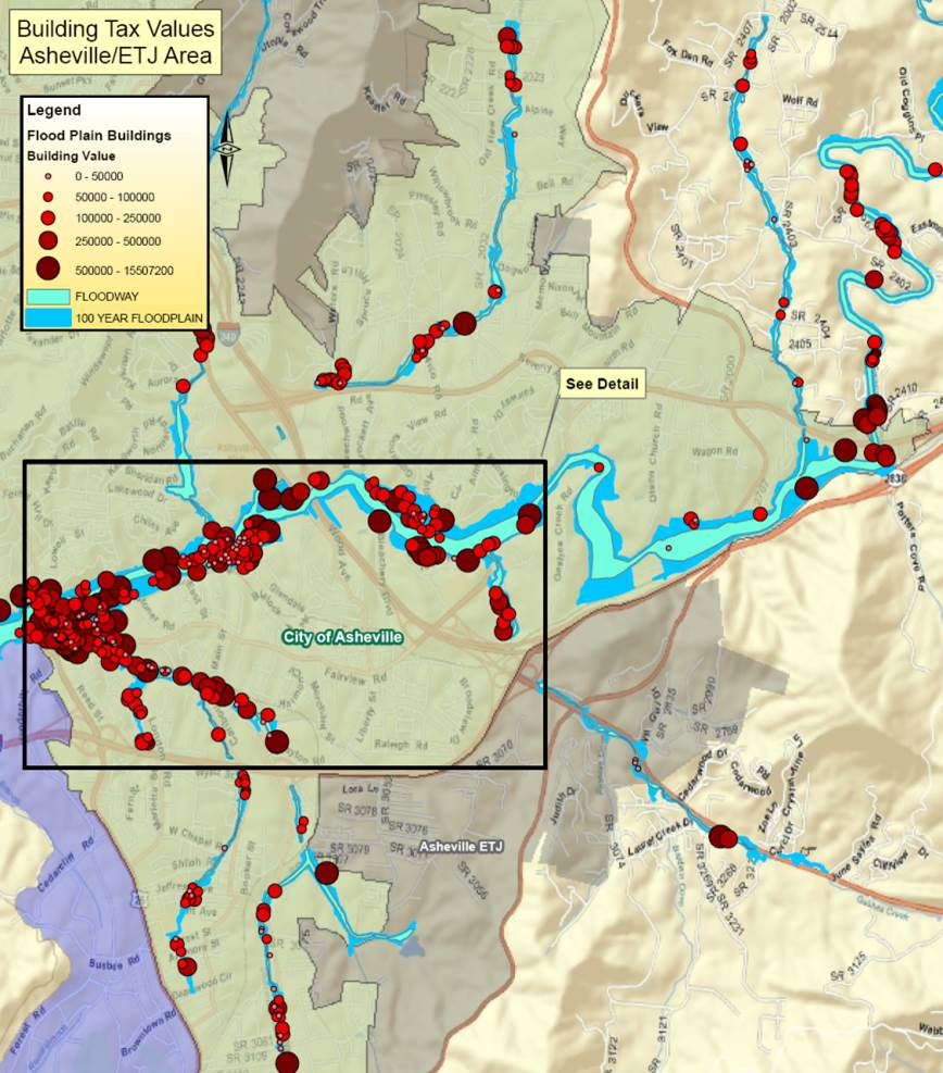Swannanoa River Flood Risk Management Project, Concentration of Building Assets, Buncombe County, NC