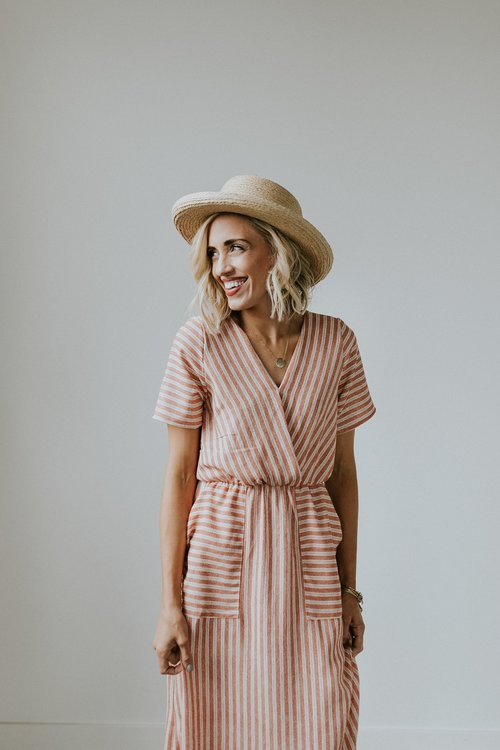 Mauve Striped Max Dress | ROOLEE