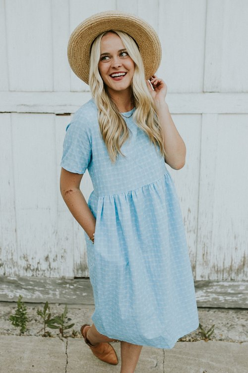 Blue Summer Embroidered Dress | ROOLEE