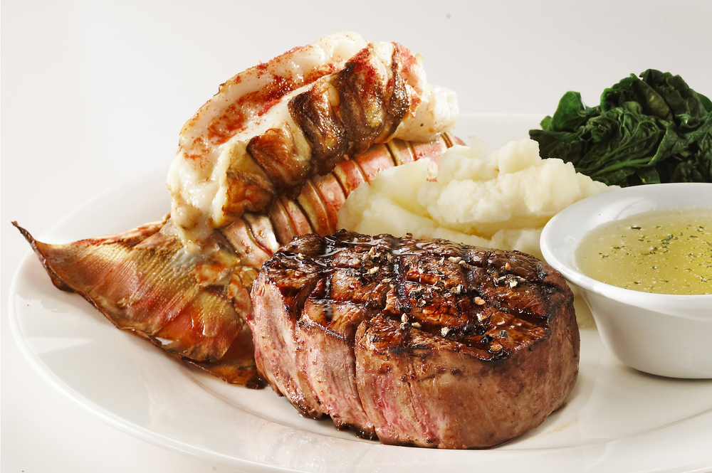 SURF & TURF 8oz USDA Prime Filet + 8oz Cold Water Lobster Tail.